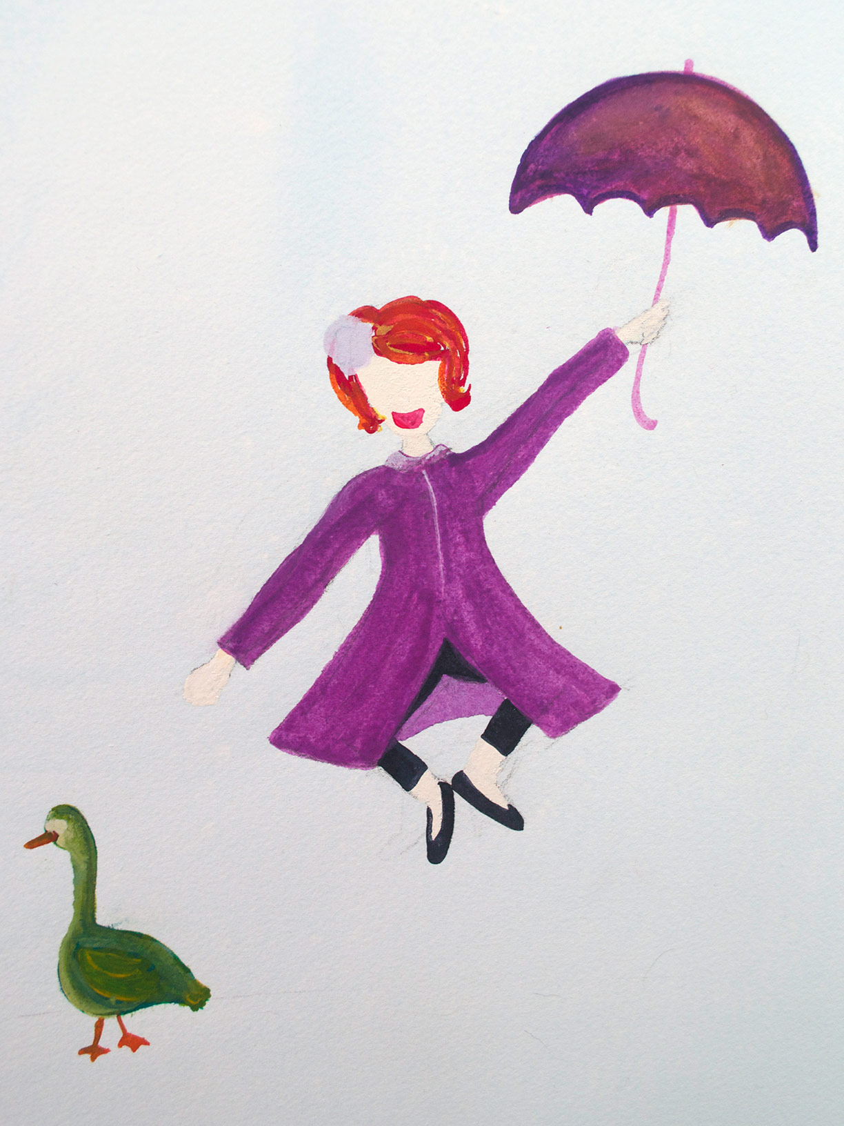 Girl and Duck, watercolor | Hannah B. 2010