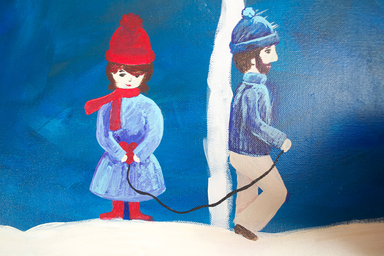 Boy, Girl, Heart, Snow | acrylic, 2009 | Hannah B.