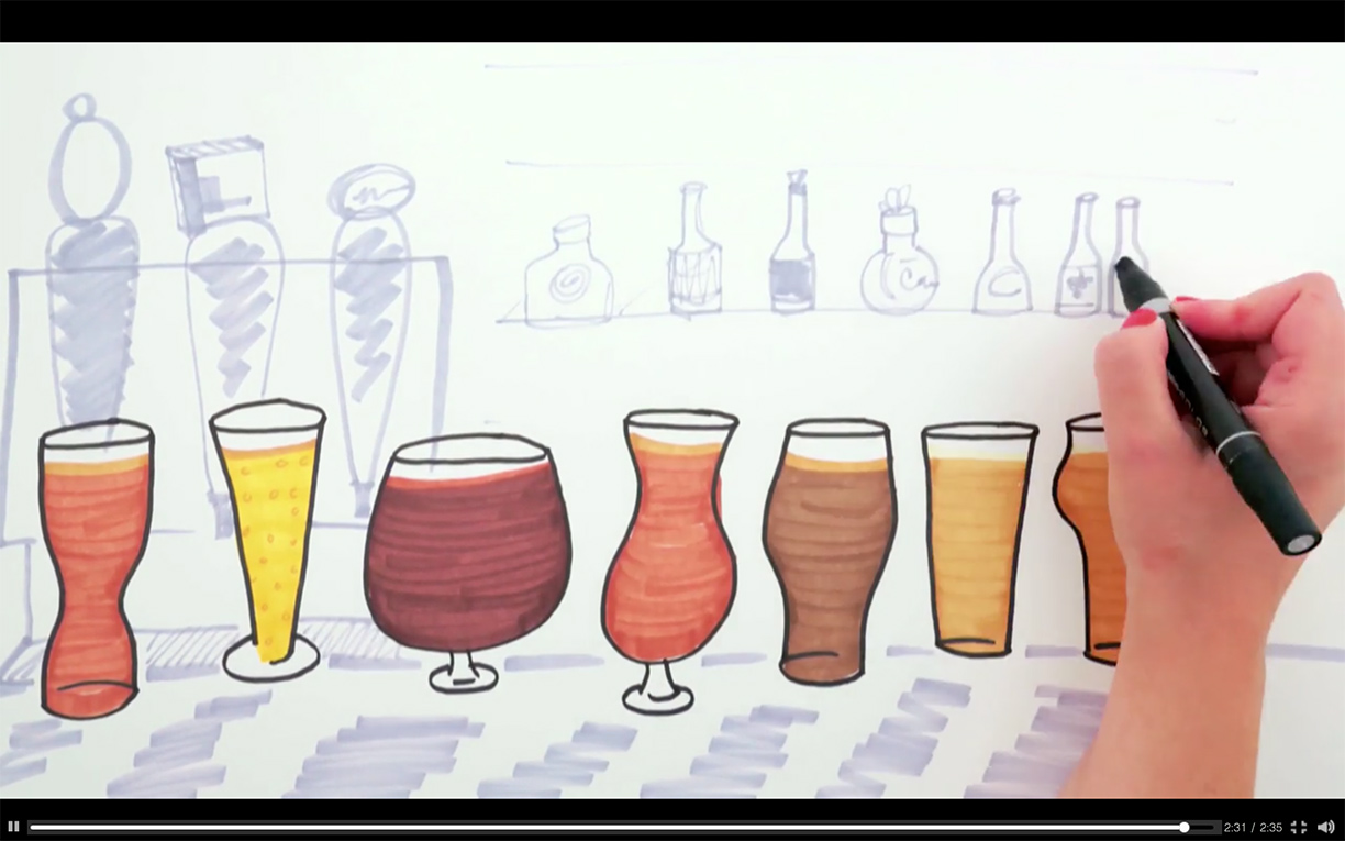 Beer Glasses 101  illustrated video for HGTV | Hannah B. Slaughter, artist