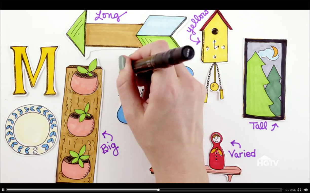How to Arrange a Gallery Wall  illustrated video for HGTV | Hannah B. Slaughter, artist